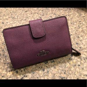 NWOT Purple Coach Leather Wallet!
